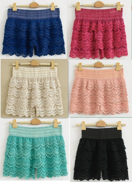 hight_qualtiy_drop_shopping_six_color_sweet_cute_crochet_tiered_lace_shorts_skorts_short_pants_blue_1